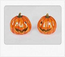 Herbstdeko 1 Windlicht Halloween Kürbis 13cm 1