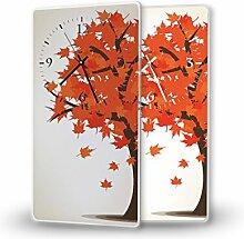 Herbstlaub - Lautlose Wanduhr mit Fotodruck auf