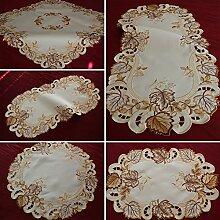 Kastanie Tischläufer Tischdecke Leinen-Optik Creme Gold Braun Herbst  Blätter