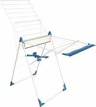 Herby 3065 Wäscheständer mit halbautomatischer Aufstellfunktion, pulverbeschichteter Stahl/ Kunststoff, 61x6x99cm, Weiß/ Blau