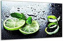 Herdabdeckplatte Ceranfeld 80x52 Zitronen Grün