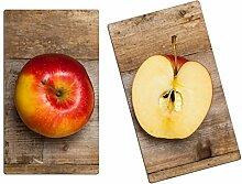 Herdabdeckplatten, Schneidebrett aus Glas, Äpfel