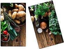 Herdabdeckplatten, Schneidebrett aus Glas, Gemüse