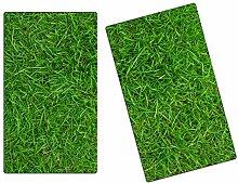 Herdabdeckplatten, Schneidebrett aus Glas, Gras