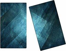 Herdabdeckplatten, Schneidebrett aus Glas,Lederoptik Türkis Blau HA111901364 Variante 2er Set (2 Panels)