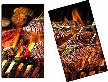 Herdabdeckplatten, Schneidebrett aus Glas, Steak