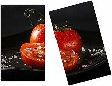 Herdabdeckplatten, Schneidebrett aus Glas, Tomaten