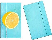 Herdabdeckplatten, Schneidebrett aus Glas, Zitrone Türkis Holz HA364124111 Variante 2er Set (2 Panels)