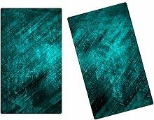 Herdabdeckplatten Schneidebretter Spritzschutz aus Glas 2-teiliges Set HA608185073 Abstrakt Türkis Variante 2x Scheiben (2 Panels) für Küche, Grillabende oder Dinner,Abdeckung auch für Ceran-Kochfelder