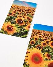 Herdabdeckplatten Sonnenblumen (2-tlg. Set), gelb