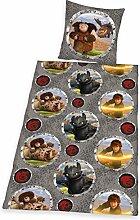 Herding 4432008050412 Bettwäsche Dragons, Kopfkissenbezug: 80 x 80 cm + Bettbezug: 135 x 200 cm, 100 % Baumwolle, Linon