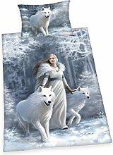 Herding 4481037064 Anne Stokes Bettwäsche Bettwäsche-Set, Baumwolle, Weiß, 160 x 210 cm