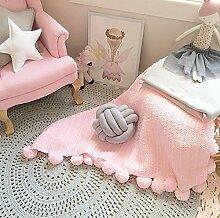 Here&There Baby Decke Teppich Matte Kindedecke Kinderzimmer Schlafzimmer Wohnzimmer Boden Babyzimmer Mädchen Dekoration Spielteppich Handball Ballmatte (Pink, 95*95cm)