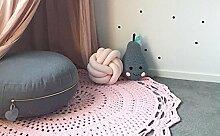 Here&There Baby Teppich Matte Kinderteppich Kinderzimmer Schlafzimmer Wohnzimmer Boden Babyzimmer Mädchen Dekoration Spielteppich Handball Ballmatte (80*80cm, pink)