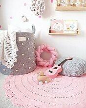 Here&There Baby Teppich Matte Kinderteppich Kinderzimmer Schlafzimmer Wohnzimmer Boden Babyzimmer Mädchen Dekoration Spielteppich Handball Ballmatte (90 x 90 cm, pink)