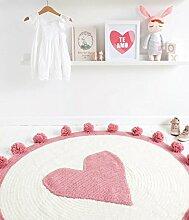 Here&There Baby Teppich Matte Kinderteppich Kinderzimmer Schlafzimmer Wohnzimmer Boden Babyzimmer Mädchen Dekoration Spielteppich Handball Ballmatte (110 x 110 cm, Pink)
