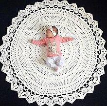 Here&There Baby Teppich Matte Kinderteppich Kinderzimmer Schlafzimmer Wohnzimmer Boden Babyzimmer Mädchen Dekoration Spielteppich Handball Ballmatte (80*80cm, weiß)