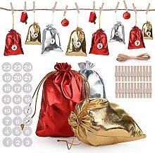 Herefun 24 Adventskalender zum Befüllen(Golden,