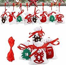 Herefun 24 Stück Weihnachten Geschenksäckchen