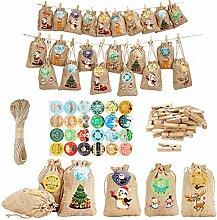 Herefun 24 Weihnachten Geschenksäckchen,