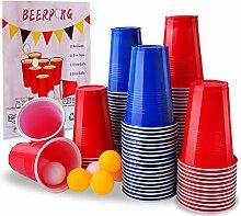 Herefun Beer Pong Becher Partybecher Set, 100 Bier