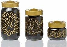 Herevin Dekorglas bemustert mit Gold 400 cc Glasdose Deko Glas Vorratsdose Kavanoz Vorratsglas Vorratsbehälter