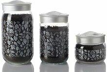 Herevin Dekorglas Silber 400 ml Glasdose Glasdeko Deko Glas Kavanoz Vorratsglas Vorratsbehälter