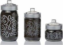 Herevin Dekorglas silber mit spitze bemustert 1000 cc Glasdose Deko Glas Vorratsdose Kavanoz Vorratsglas Vorratsbehälter