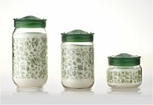 Herevin Dekorglas Verde 400 ml Glasdose Deko Glas Vorratsdose Kavanoz Vorratsglas Vorratsbehälter