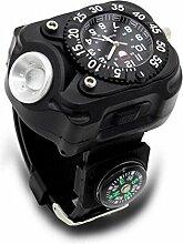 Herrenuhren Outdoor Living Watch Taschenlampe Uhr Multifunktions Armbanduhr Kompass Flint Starter Watch