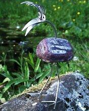 Herta stehend Gartenfigur und Gartendeko als Steinvogel aus Edelstahl und Stein Größe ca 20 cm hoch
