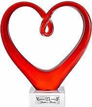 Herz aus Glas – Rotes Glasherz als Skulptur von Leonardo– Plakette zur Silberhochzeit – Personalisiert mit Namen und Datum – Geschenk zum 25. Hochzeitstag – Dekoration