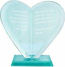 Herz Award mit Gravur, Trophäe, Trophy, Pokal, Glaspokal, Glastrophäe, Geschenkidee, Geburtstagsgeschenk, Geschenk zu Weihnachten, zur Hochzeit, zum Geburtstag, zur Konfirmation, Muttertag / Vatertag
