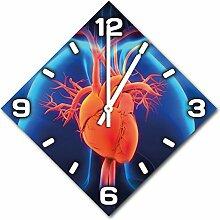 Herz, Design Wanduhr aus Alu Dibond zum Aufhängen, 30 cm Durchmesser, schmale Zeiger, schöne und moderne Wand Dekoration, mit qualitativem Quartz Uhrwerk