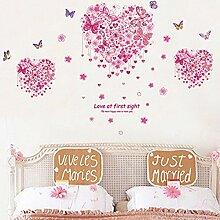 Herz Form Schmetterlinge Blumen Wandtattoo House Aufkleber abnehmbarer Wohnzimmer Tapete Schlafzimmer Küche Art Bild Wandmalereien Sticks PVC Fenster Tür Dekoration + 3D Frosch Auto Aufkleber Geschenk