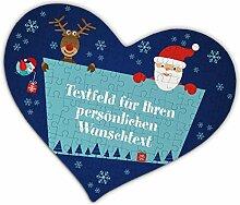 Herz & Heim® Herzpuzzle zu Weihnachten für Gutschein mit eigenem Tex