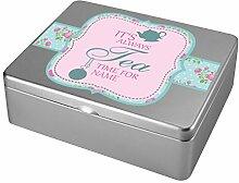 Herz & Heim® Tee-Box aus Metall - Motiv: It's