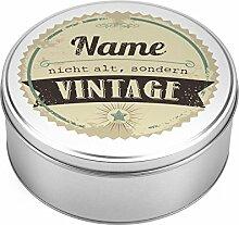 Herz & Heim® Vorratsdose für Kekse oder Süßes -nicht alt, sondern vintage - mit Namensaufdruck