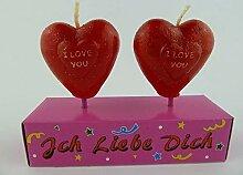 Herz Kerze in Rot mit Aufschrift I LOVE YOU 2