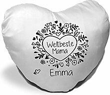 Herz-Kissen mit Namen Emma und schönem Motiv -