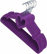 Herz Kleiderbügel Anti-Rutsch Samtige Kleiderbügel Kleiderhaken Bügel 10 Stück (Lila)