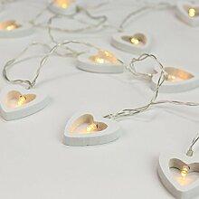 Herz Lichterkette, batteriebetrieben, 10 weiße