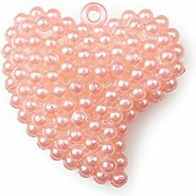 Herz mit Aufhänger 16 Stück in Perlenoptik Acryl lachs 3,5cm