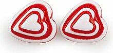 Herz mit Loch ca. 220g / 200 Stück Fädelperlen weiß-rot 1cm
