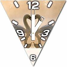 Herz mit Schwan, Design Wanduhr aus Alu Dibond zum Aufhängen, 30 cm Durchmesser, breite Zeiger, schöne und moderne Wand Dekoration, mit qualitativem Quartz Uhrwerk