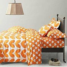 Herz Orange Bettwäsche-Set Kinder Bettwäsche Teen Betten Betten Wohnheim Geschenkidee, baumwolle, Orange, Volle Größe