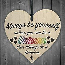 """Herz zum Aufhängen, Holz, Türschild,Rot, Aufschrift """"Always Be Yourself Unless You Can Be A Unicorn"""", Geschenkidee"""
