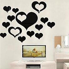 Herzform Home Decor Wall Sticker Acryl Spiegel modernen multi-Stück Paket Sticker C, Schwarz