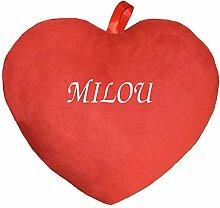 Herzkissen Kissen bedruckt mit Vornamen Milou ro