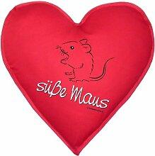 Herzkissen mit Innenkissen - Süße Maus -